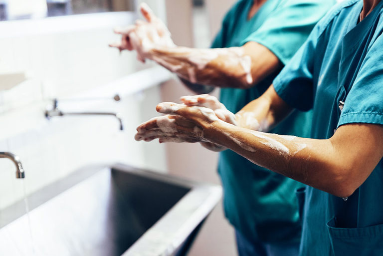 Doctors Thoroughly Washing Hands